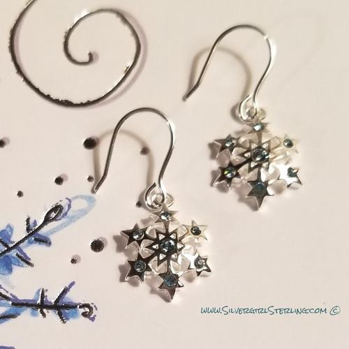 Little Blue Snowflake Earrings  |  Sterling Silver Winter Jewelry