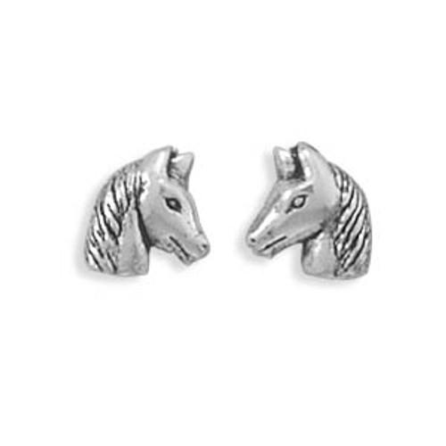 Oxidized Horse Head Stud Earrings