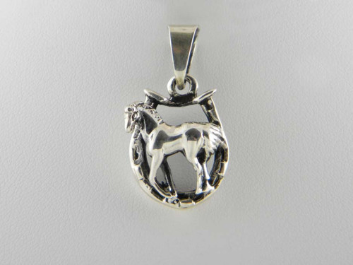 Horse in Horseshoe Pendant