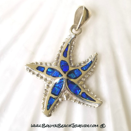 Opal Starfish Pendant in Dark Blue Opal | Sterling SIlver & Opal Sea Life Jewelry