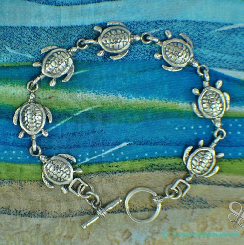 Silver Turtle Link Bracelet