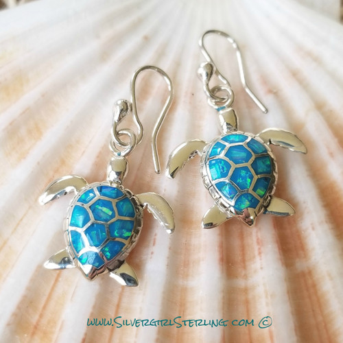 Opal Turtle Earrings - Blue Opal