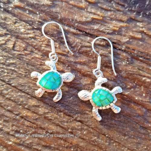 Opal Mosaic Turtle Earrings - Green Opal