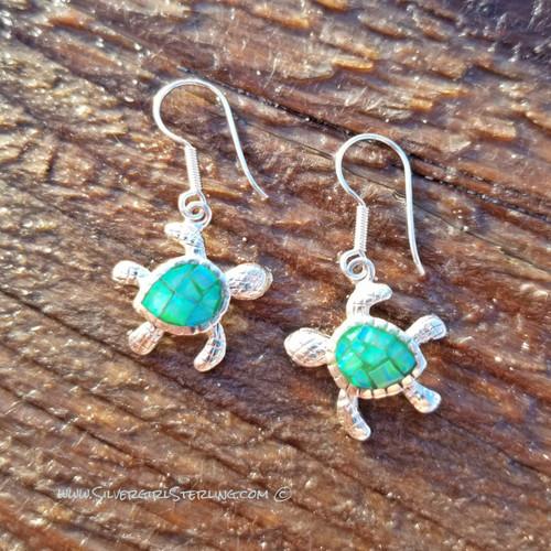 Opal Mosaic Turtle Earrings - Green Opal