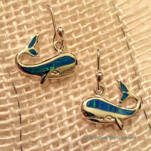 Opal Whale Earrings