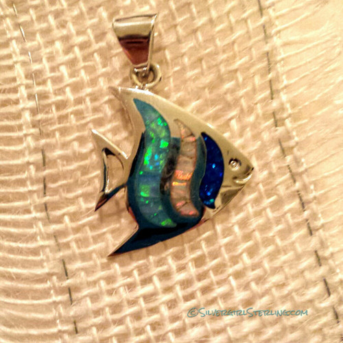 Opal Angel Fish Pendant