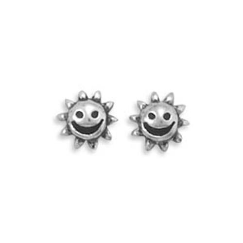 Oxidized Smiling Sun Stud Earrings