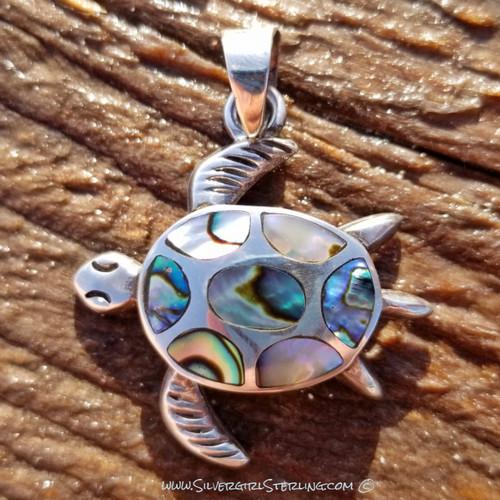 Large Opal Sea Turtle Pendant - Abalone