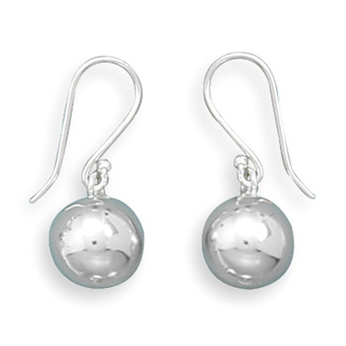 Hammered Silver Ball Drop Earrings