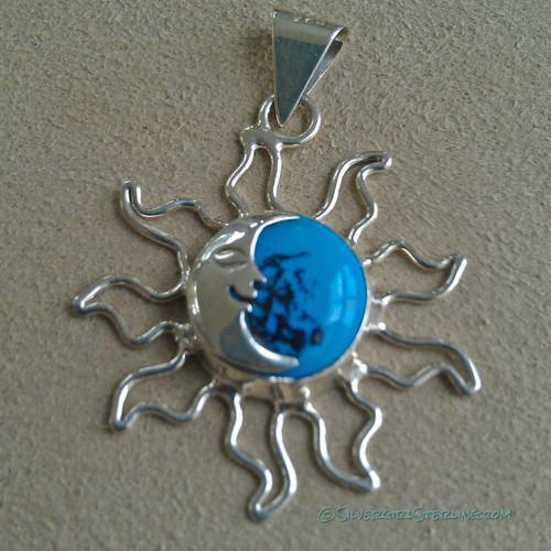 Sun & Moon Pendant in Dark Turquoise