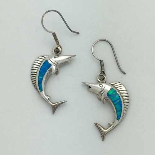Sailfish Pendant in Blue Opal - Just like the right earring with a bale instead of a wire.