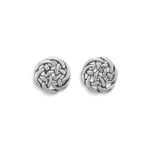 Tiny Post Earrings - Celtic Disc