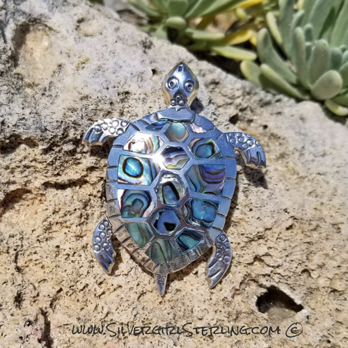 Abalone turtle Pendant - Large | Sterling Silver and Abalone Beach Jewelry