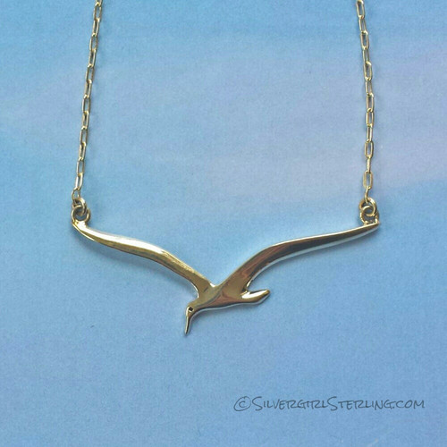 Silver Sea Gull Necklace  |  Sterling Silver Beach Jewelry
