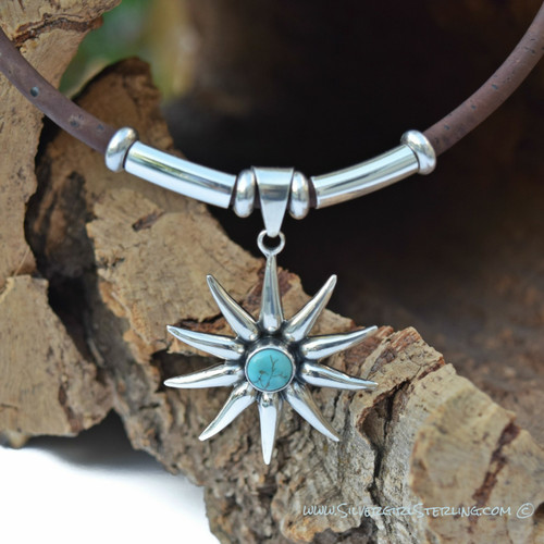 Estrella Pendant in Natural Turquoise (Pendant Only - Necklace available at www.CorkTreeDesigns.com)