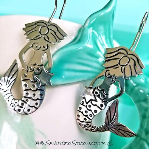 Lorelei Earrings (Seated Mermaid with Star)