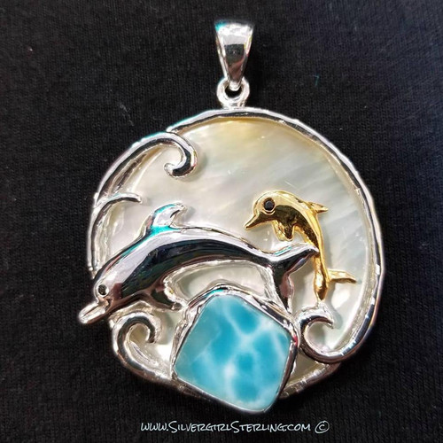 Two Dolphins Larimar Pendant