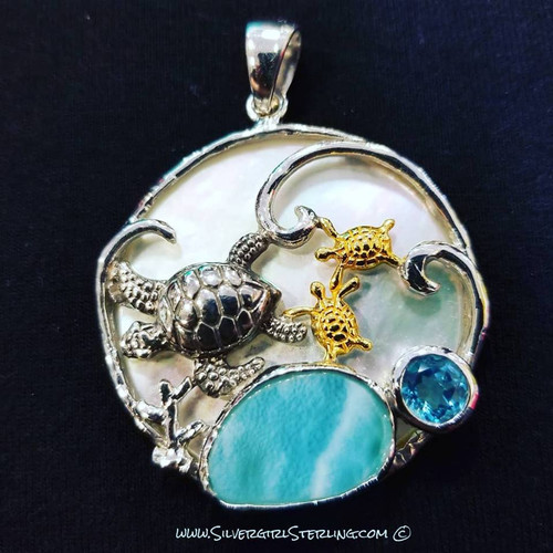 Sea Turtles Larimar Pendant