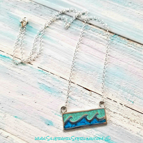 Ocean Waves Necklace - Blue Crush  |  Sterling Silver Beach Jewelry