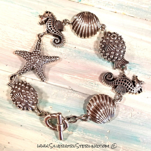 Puffer Fish & Friends Bracelet | Sterling Silver Jewelry