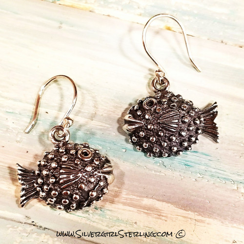 Puffer Fish Earrings | Sterling SIlver Jewelry