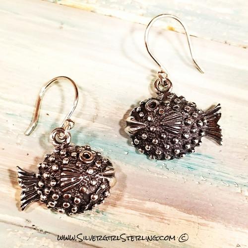 Puffer Fish Earrings | Sterling SIlver Jewelry