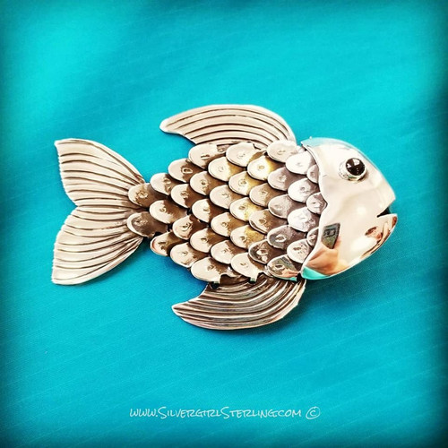 Silver Swimmer Fish Pendant