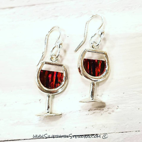 Wine Glass Earrings - Red, White or Blush