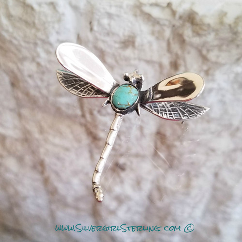 Silver Dragonfly Pendant with Light Turquoise Center