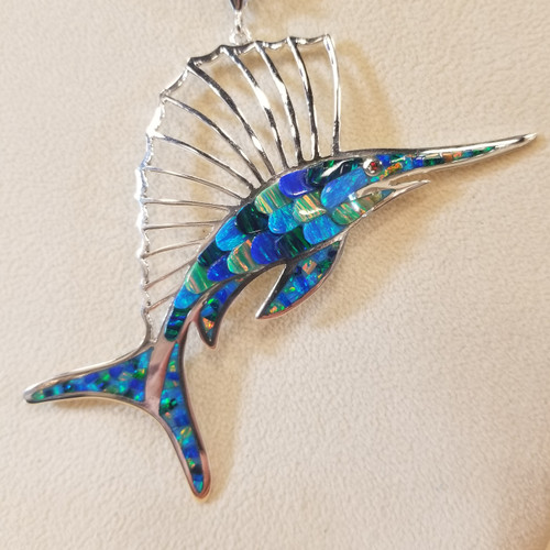 Scaled Opal Sailfish Pendant  |  Sterling Silver & Opal Sealife Jewelry