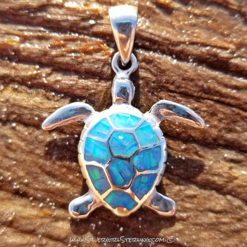 Opal Turtle Pendant - Large - Blue Opal  |  Sterling Silver & Opal Beach Jewelry