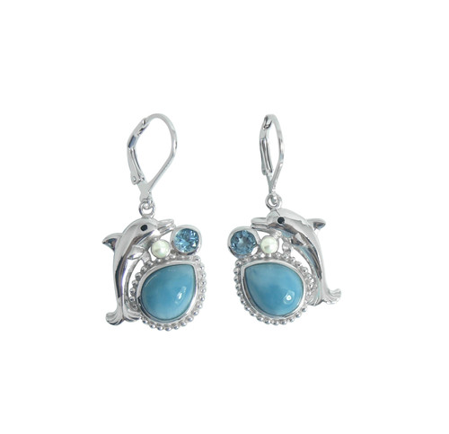 Dolphin Earrings w/ Larimar, Blue Topaz & Pearl