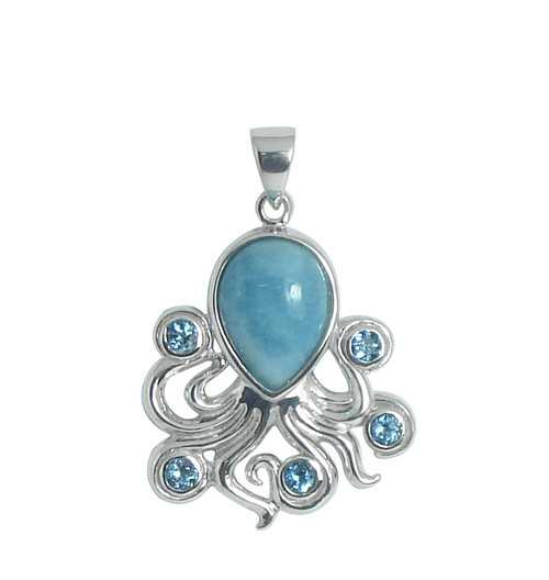 Blue Topaz and Larimar Octopus Pendant - Large | Sterling SIlver Jewelry