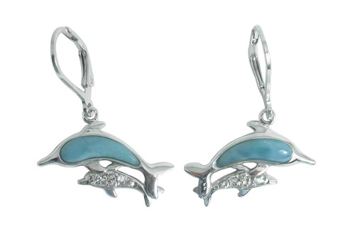 Larimar Dolphin & Calf LB Earrings