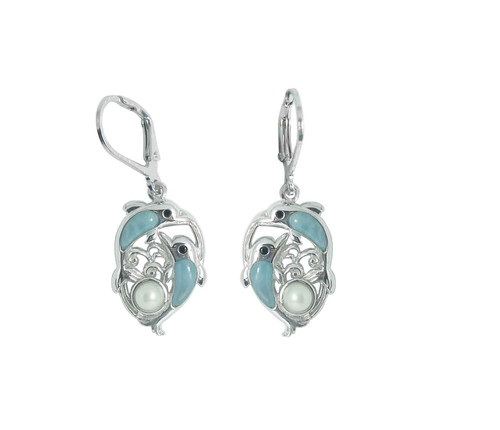 Larimar Dolphins w/ Pearl LB Earrings