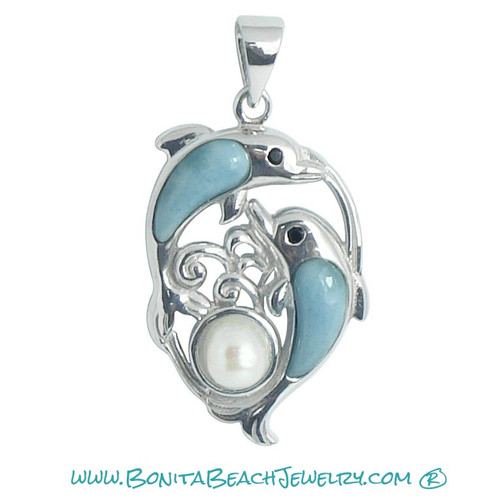 Larimar Dolphins w Pearl Ball Pendant - Large  |  Sterling Silver & Larimar Beach Jewelry