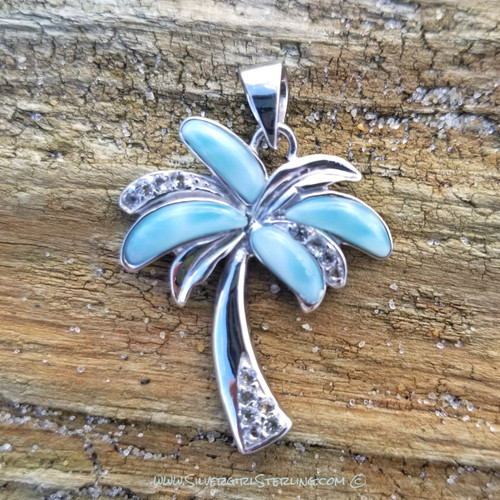 Larimar Palm Tree Pendant - Large | Sterling SIlver Jewelry