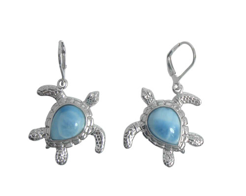 Larimar Sea Turtle LB Earrings