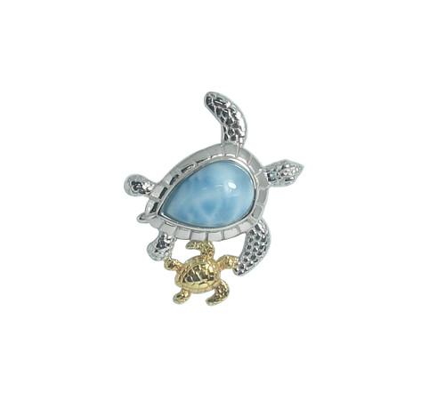 Larimar Sea Turtle w/ Baby Pendant (2 Sizes)