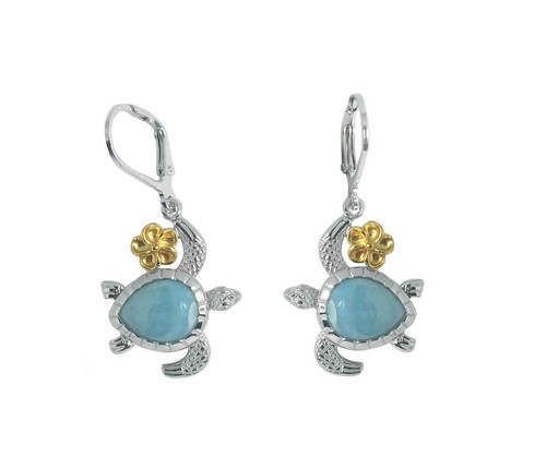 Plumeria  & Larimar Turtle LB Earrings
