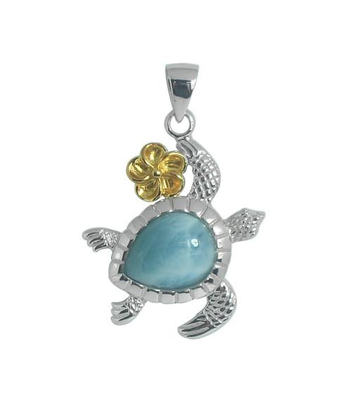 Larimar and Gold Plumeria Sea Turtle Pendant | Sterling SIlver Jewelry