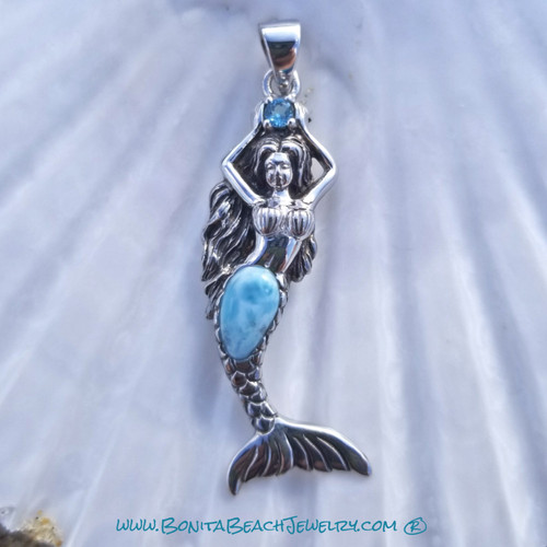 Larimar Shell Beach Mermaid Pendant | Sterling Silver Jewelry