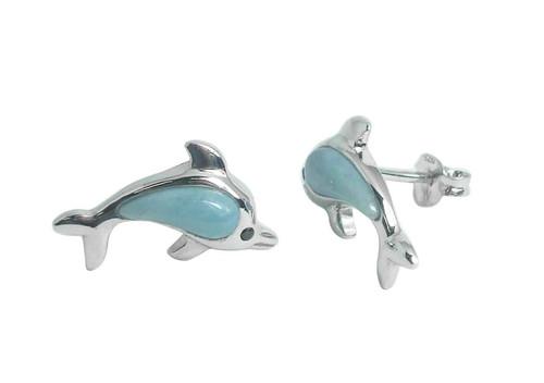 Larimar Little Dolphin Post Earrings