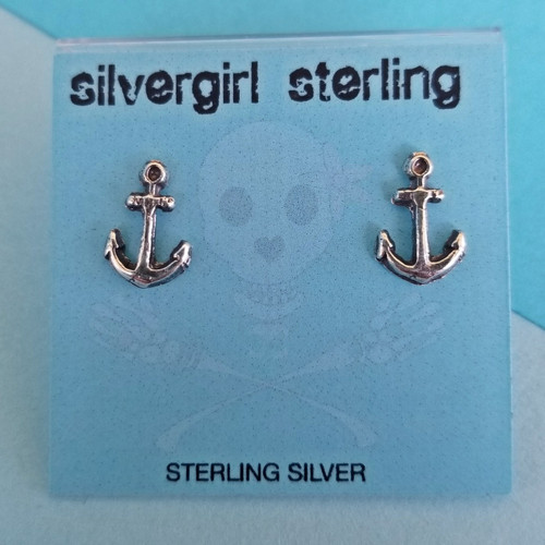 Anchor with Loop Tiny Post Earrings