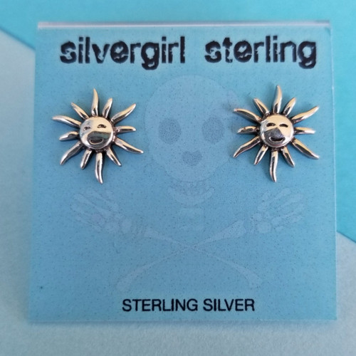 Smiling Sun Tiny Post Earrings