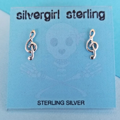 Treble Clef Tiny Post Earrings