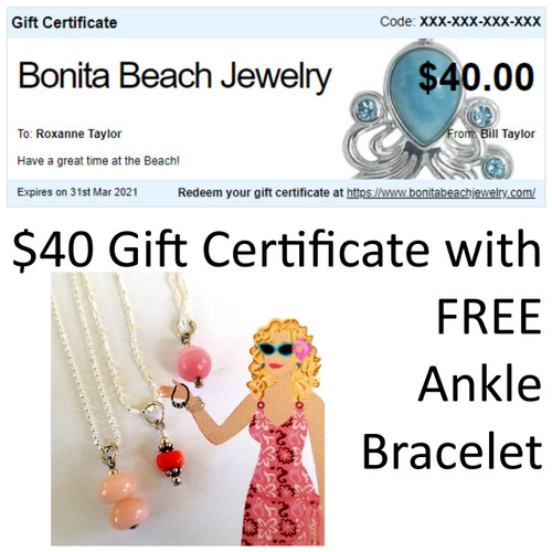 $40 Gift Certificate w/ FREE Ankle Bracelet with Charm