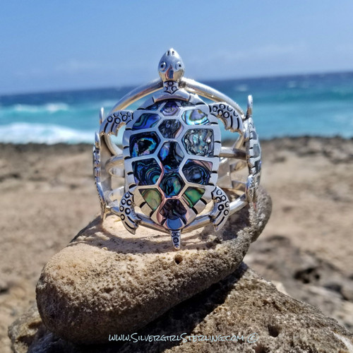 Abalone Turtle Cuff Bracelet - Large | Sterling Silver and Abalone Beach Jewelry