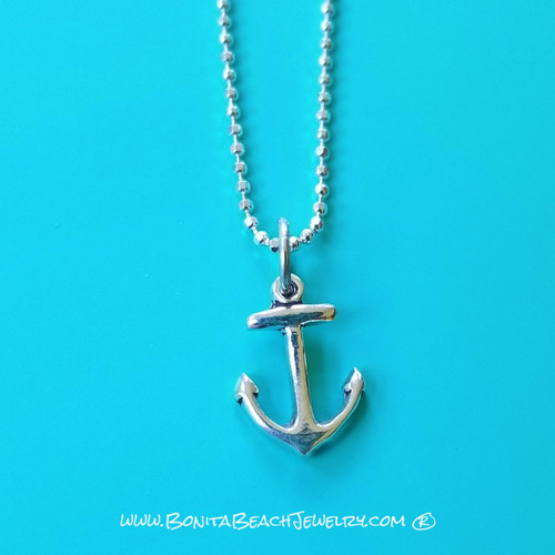 Sea Life Charm Anklet - Anchor   Sterling Silver Sea Life Anklet