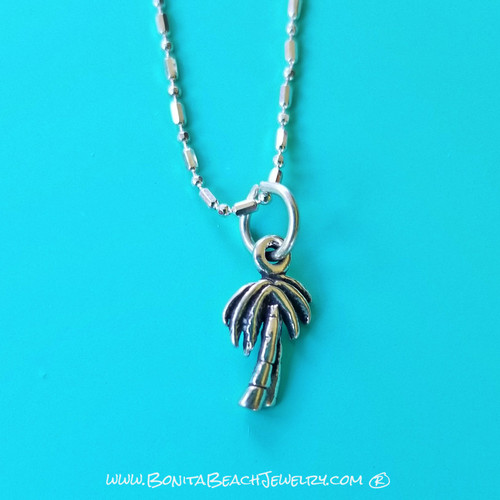 Sea Life Charm Anklet - Palm Tree | Sterling Silver Sea Life Anklet